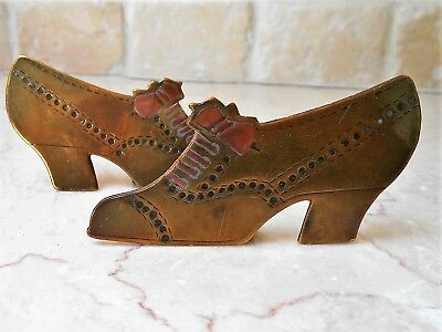 2 Brass & Copper 'mantelpiece/hearth' Ornaments In Silhouette.ladies Heeled Shoe