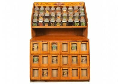 Antique F.H. Woodruff Country Store Seed Counter Display Hutch (53575)