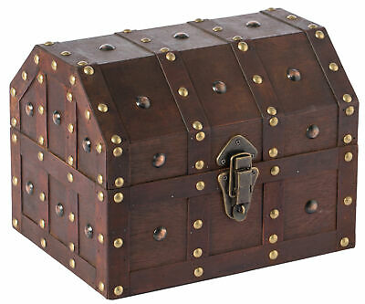 New Black Vintage Caribbean Pirate Chest with Decorative Nailed Design, QI003320
