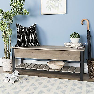 48 Inch Open Top Storage Bench With Shoe Shelf Gray Wash 21900