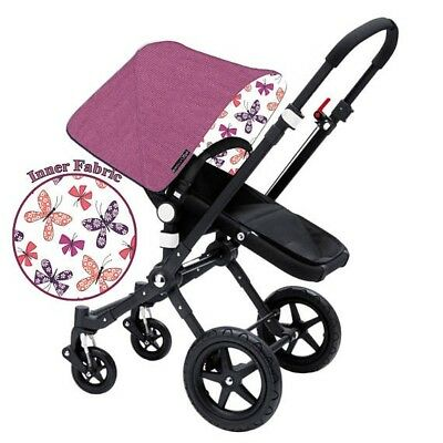 Bugaboo  Bee 5 Custom canopy hood cover ''chasing butterflies berry''