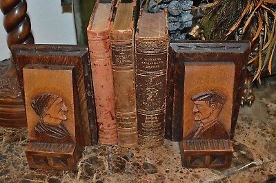 Antique Pair French Figural Couple Breton Carved Wood Bookends