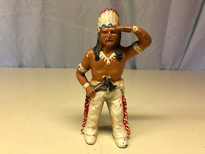 Unique Cast Iron Indian Chief Head Dressing Standing Still Coin Piggy Bank