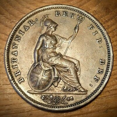 1825 Penny - George IV / IIII British Milled Copper 1d coin