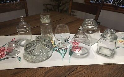 Vtg Lot Glass Fancy Candy Bar Buffet Canisters Jars Wedding Kitchen Party