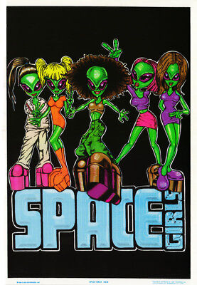 Lot 2 Posters:comical :Aliens - Space Girls -Black Light & Flocked  #838  Rc14 G