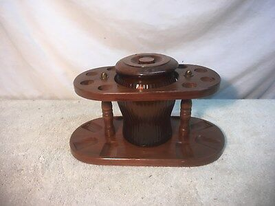Vintage wooden 8  pipe stand with brown glass humidor Mid Century