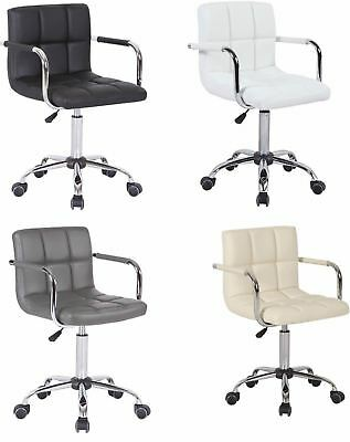 Faux Leather Adjustable Gas Lift 360 Swivel Computer School Desk Table Arm Chair