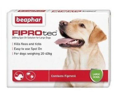 Dog Flea Spot On Fipronil Beaphar Fiprotec Treatment Large Dog 1,3,6 Pipette