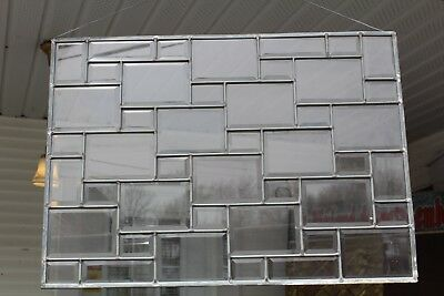 Antique Framed All Beveled  Leaded Glass Window  Architectural Art Deco Brick