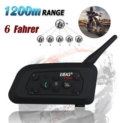 1200m Motorrad Bluetooth Gegensprechanlage Intercom Headset Helm Sprechanlage DE