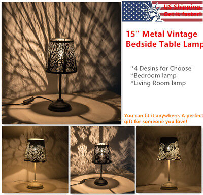 "15"" Metal Bedside Table Lamps Vintage Desk Lamp Night Lights Bedroom Living Room"