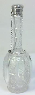 Victorian hallmarked Sterling Silver & Cut Glass Perfume/Rose Water Bottle –1888