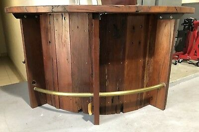RARE Original Vintage LARGE Antique Driftwood Chestnut Wood BAR with Brass Rail