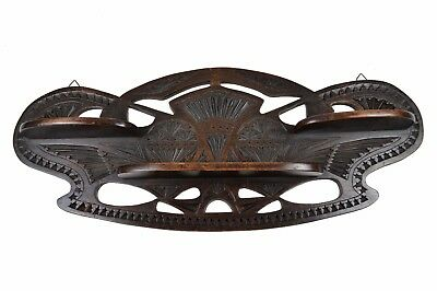 Vintage Frisian Chip Carved Reticulated Art Deco Triple Wall Shelf, Dutch.