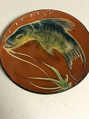 Vintage Antique Japanese Koi Carp Charger plate Pottery Earthenware