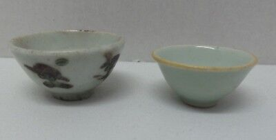 Vintage Antique Chinese Porcelain Tiny Cups Celadon Hand Painted Flowers