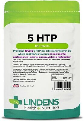 5HTP 100mg 120 Tablets Depression Anxiety Appetite Insomnia Serotonin Lindens UK