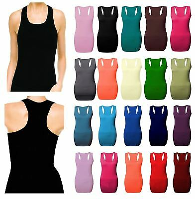 Ladies Womens Long Back Bodycon Muscle Vest Top Gym Top All Plus Sizes Racer