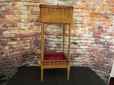 Antique Victorian Wicker Sewing Basket Table Tufted Red Satin Inside