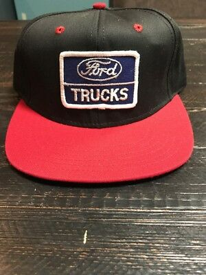 f63283319c9 Vintage Ford Trucks Hat Cap Snapback Snap Back Trucker Farmer Black On Red