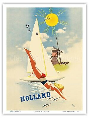 Holland - Dutch Windmill - Jan Wijga 1948 Vintage Travel Poster Print