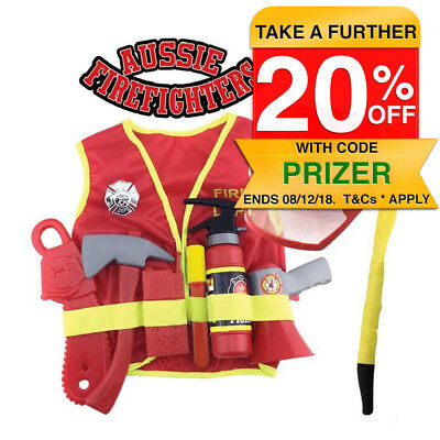 Role Play Adventures Fire Fighter Costume/Uniform Set for Kids Fireman Cosplay