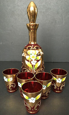 Bohemian Czech Moser Style Ruby Red Enamel Decanter & 5 Glasses