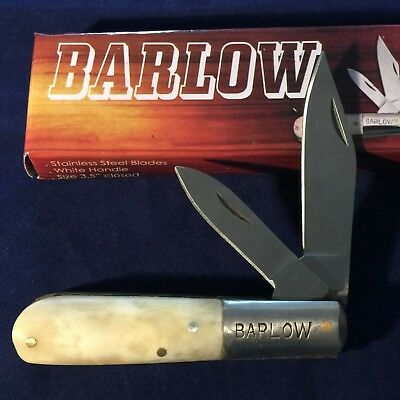 6 White Camel Bone Handle Barlow Pocket Knife Two Blade Stainless Steel
