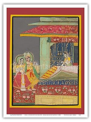 India - A Prince with his Beloved - 1800s Miniature Painting Print