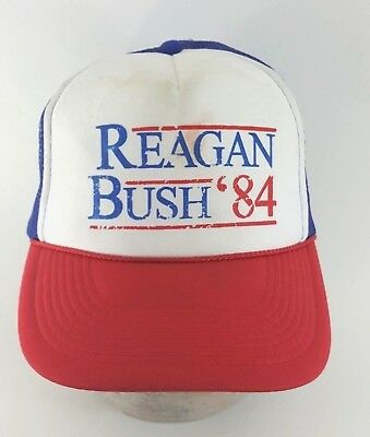 19279ad39 RONALD REAGAN GEORGE Bush 84 Campaign Trucker Hat Vintage Political ...