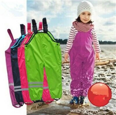 Kid Windproof Pants Girls Boy Waterproof Overalls Cotton Padded Rain Trousers