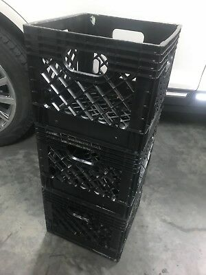 Black Milk Crate Heavy Duty Plastic Storage Container Stackable Bin. 12x12x10.5