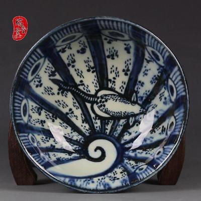 China old antique Porcelain jingdezhen QING Hand painting blue & white bowl