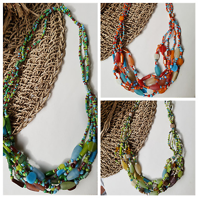 MAN 2 handcrafted  multi layered glass beaded boho tribal necklace pendant