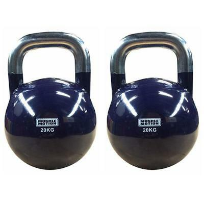 Pair of 20KG Competition Kettlebells - Purple