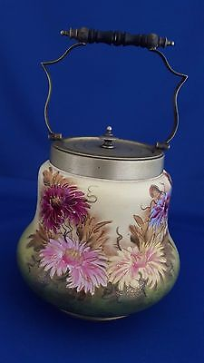 RARE 1915-1932 W. WOOD & Co. BISCUIT JAR CHRYSANTHEMUM FLOWERS EPNS GORGEOUS!