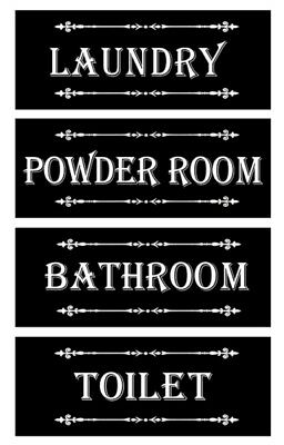 Country Wooden Hanging BLACK SIGNS Toilet Bathroom Laundry Powder Room Plaque...