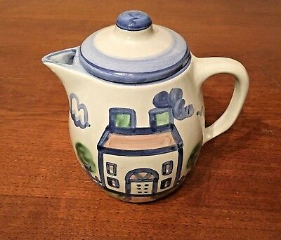 M. A. Hadley Stoneware Pottery Country Farm House 2 Quart Covered Pitcher