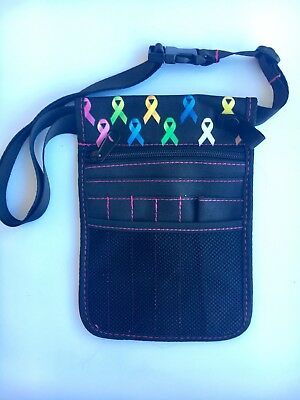 Nurse Pouch Care Ribbon Print - Handy Utility pouch for vet,physio,teacher,nurse