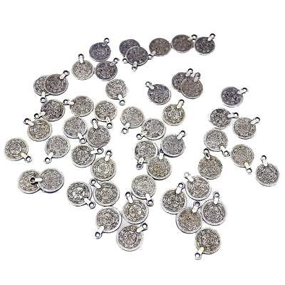 100pcs Vintage Coin Flower Carving Beads DIY Jewelry Making Findings Craft