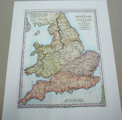 England. Map. 1801. Dioceses.
