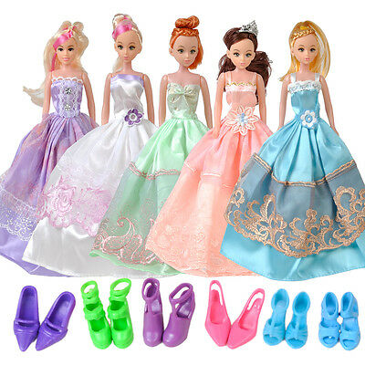 5 set Wedding Dress Party Gown Clothes Outfits + 10 Pairs Shoes For Barbie Doll