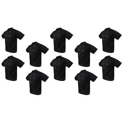 10x Lot Black Chef Jackets Short Sleeved Kitchen Catering Uniforms Apparel M