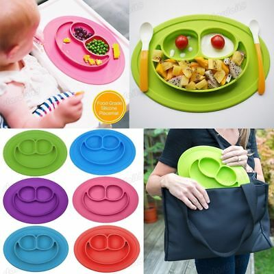 Portable Silicon Happy Mat Baby Kids Suction Table Food Tray Placemat Plate Bowl