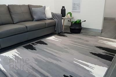Floor Rug Black Grey White Abstract Lines Pattern Modern Carpet