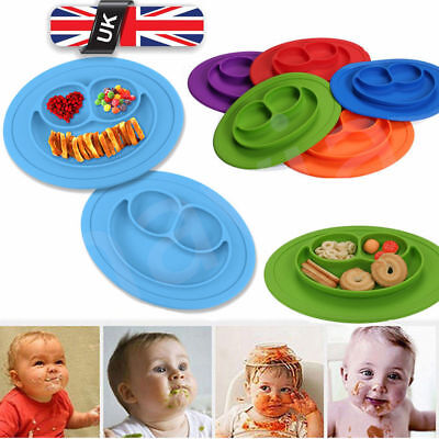 UK Cute Silicone Happy Mat Baby Kids Suction Table Food Tray Placemat Plate Bowl