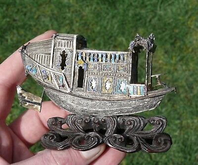 A Superb Chinese Export Silver and Enamel Decorated Figure of a Boat, 19th/20thC