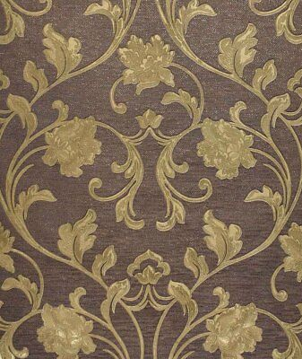 Exclusive Cartier Embossed Gold/Brown Floral Wallpaper (C62004)