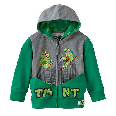 NEW boy TEENAGE MUTANT NINJA TURTLES zip-up POCKET FRENZ raphael HOODIE sz 2T